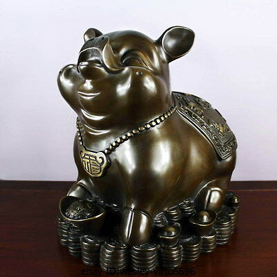 Chinese Fengshui bronze Copper Zodiac Year Pig Yuanbao Coin Money Wealth Statue