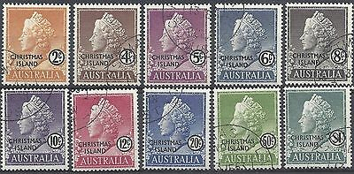 Christmas Island 1958 QUEEN ELIZABETH FIRST SET COMPLETE (10), FINE USED, SG1-10