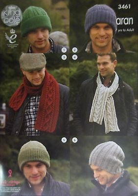 King Cole Aran Hats scarves childs adult Knitting Pattern  3461