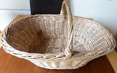 French Willow woven basket Authentic Large Vintage Oval shape