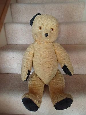 Vintage Large Old Straw Filled Teddy+Working Growler+Glass Eyes NEEDS SOME TLC