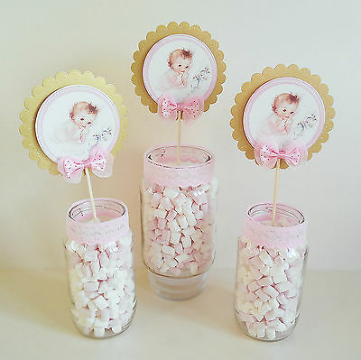 3 x Baby Shower Girl Centerpieces/Cake Toppers Table Decoration pink gold