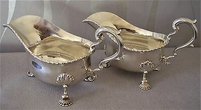 Beautiful Pair Of Georgian Style Sterling Silver Sauce Boats Heavy 19.7 Troy Oz