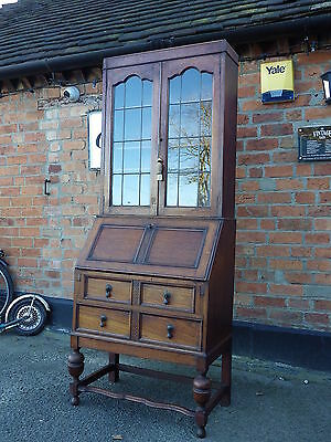 Lovely Antique Solid Oak Bureau Bookcase With Leaded Glass