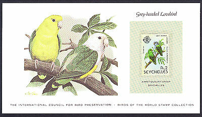 Grey Headed Lovebird Parrot Parrots card displaying 1979 Seychelles hinged stamp