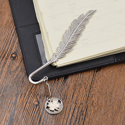 Silver Feather Bookmark Alloy Letter Opener Clover Shape Charm Stationery Gifts