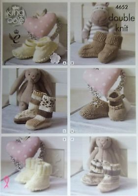 King Cole DK knitting pattern baby shoes booties sock  to fit 0 - 12 months 4652