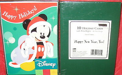 Disney - 10 Holiday Greeting Cards With Envelopes - Mickey Mouse