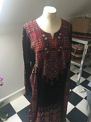 Traditional Jordanian Dress. Long Black With Intricate Embroidery. Unusual.