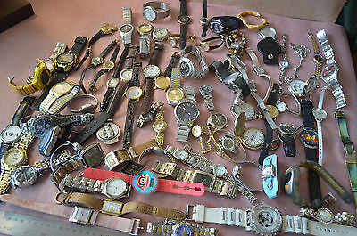 Large Lot of 74 Watches for Parts or Repair, Men's, Women's Vintage  #1666