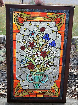 Tiffany Style Stained glass window panel, 34 by 21