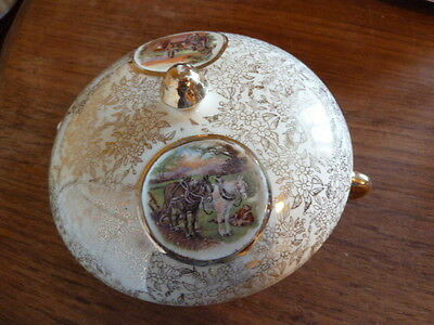 9628) Lidded dish w two handles from Empire April 1947 lashings of gilt - LUSH