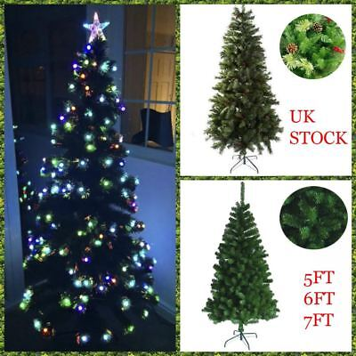 Led Fibre Optic 5ft 6ft 7ft Christmas xmas Tree Green baubles berries decoration