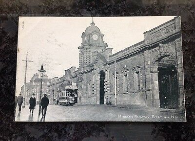 Old Postcard Of The Midland Railway Station In Nottingham
