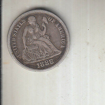 1888 USA .900 Silver Seated Liberty Dime --  GOOD COLLECTABLE GRADE & DETAIL