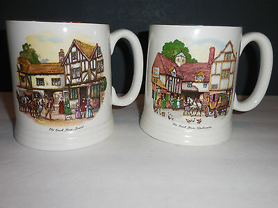 Pair Lord Nelson Pottery England Old Coach House Mugs Coffee Woolhampton Bristol