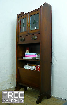 Small and Trim Edwardian Glazed Cabinet with Magazine Holder