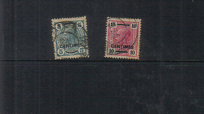 Austrian PO's in Crete 1904-05 5c and 10c (with varnish bars) used