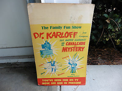 Original 1950s Dr Karloff TV Magician In Person Theater Lobby Litho Window Card
