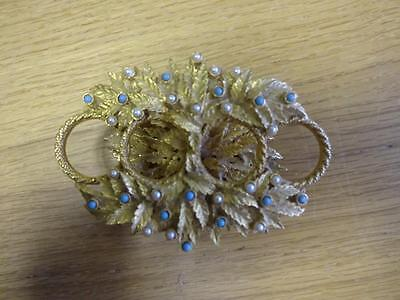 Vintage 1960's Ornate Gold Coloured Turquoise And Pearl Mirella Lipstick Holder