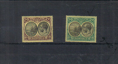 Dominica George V 1923-33 3/- and 5/- mounted mint