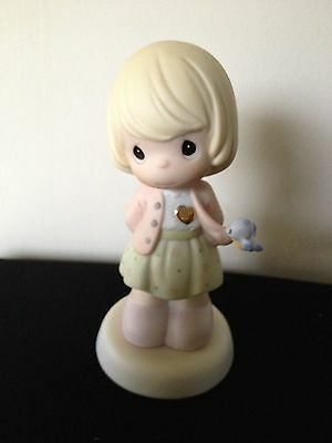 Precious Moments You Have a Heart of Gold Girl with Bluebird Figurine NWOB