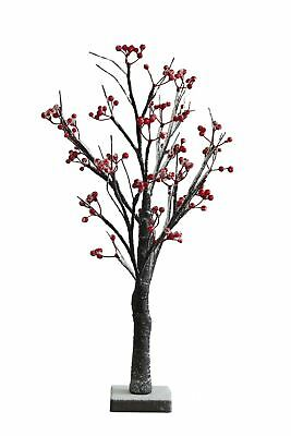 2ft Christmas Twig Tree Red Berry Snowy Effect 24 Warm White Pre-lit LED Lights