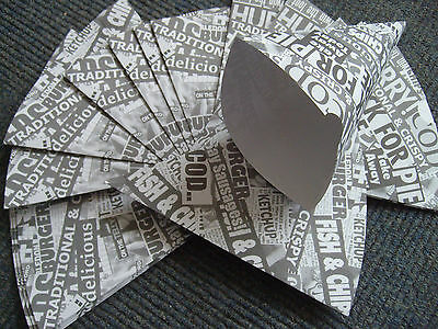 100 Newsprint 12oz Chip Cones Recyclable Card ***Free P+P***