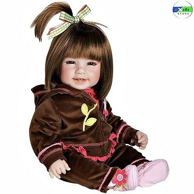 Lifelike Baby Doll Realistic Reborn Girl Hair Brown Eyes Toddler Real Soft Body