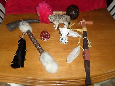 Native American Rattles, Pipe, Flute, Trinkets Lot