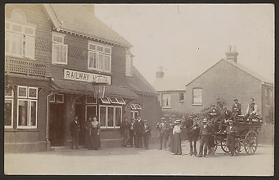 The Railway Hotel. Horse & Cart & a Group of People, But Where ? Unused Postcard