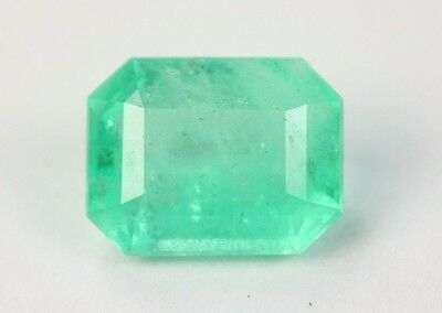 Light Green 1.66 Cts Loose Colombian Emerald Cut Gemstone From Muzo