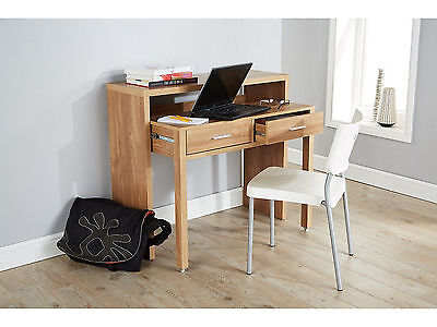 Regis Extending Oak Console Dresser Office Computer Table 2 Drawers Storage New
