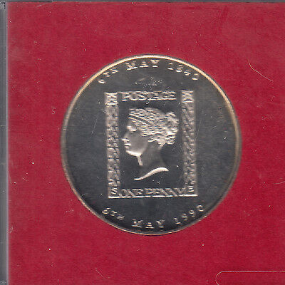 1990 PENNY BLACK STAMP COIN MEDALLION ROYAL MAIL CASED 38 mm DIAMETER SEE PICS
