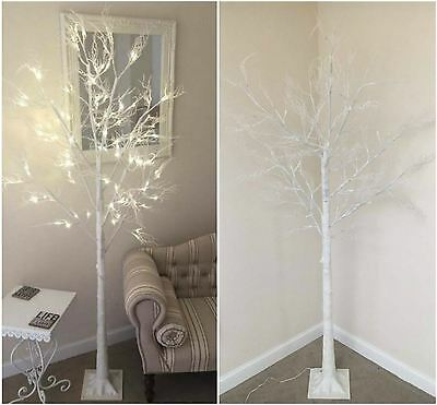 7ft Christmas Twig Tree Pre Lit 120 LED Warm White Lights Indoor & Outdoor Use