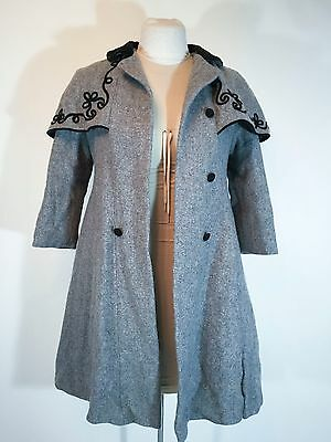 Vintage Gray Wool Coat Cape Collar Embroidered Trim Velvet Collar Heavy 1950s