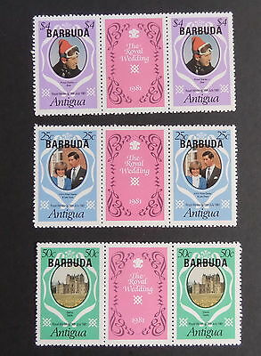 Barbuda 1981 Royal Wedding Gutter pairs pink MNH UM unmounted mint