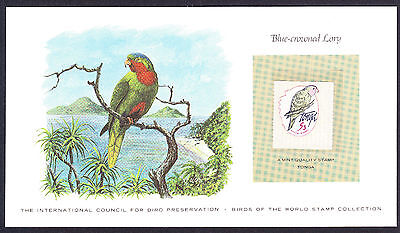 Blue Crowned Lory Parrot Parrots Bird card displaying 1979 Tonga hinged stamp