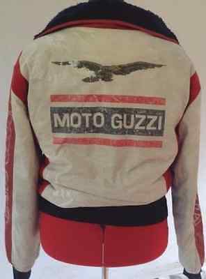 red and white vintage moto guzzi jacket
