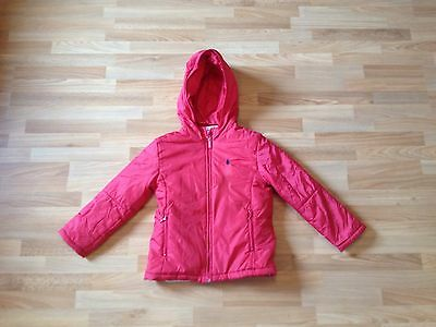 Girls JANG PIERRE Red Hooded Zipped Padded Warm Jacket/coat, Fleece Lined -Age 7