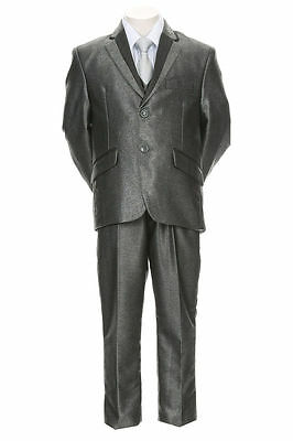 Boys Toddler Kid Teen 5pc Shiny Formal Premium Tuxedo Suit w/ Vest sz 2-20 GRAY