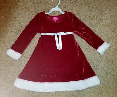 Pinky christmas costume longsleeve dress toddler girl red size 4T NWOT