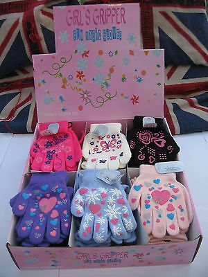 New Girls Magic Gripper Gloves 6 Styles Assorted Patterns Cozy And Warm L@@k