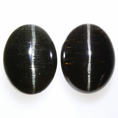 6.690 Ct VERY RARE FINE QUALITY 100% NATURAL SILLIMANITE CAT'S EYE INTENSE PAIR!