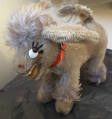 Vintage Schuco Donkey Mohair Plush Wearing Red Collar Posable Ears