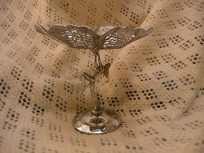 Vintage/retro -- Chrome --Dancing Lady --  1 Tier -- Cake Stand --
