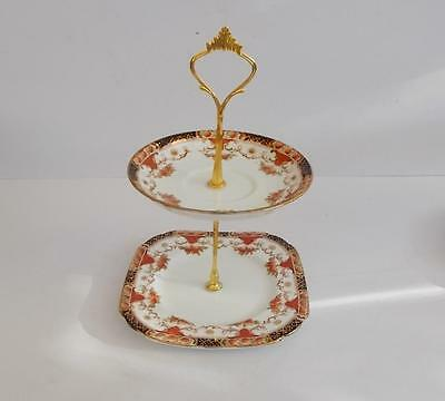 Vintage Sutherland Hand Painted  2 Tier Small Cake/Biscuit/Floral Table Stand.