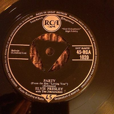 """Elvis Presley.party. Try Centre.1957.7"""".45rpm.near Ex Condition."""