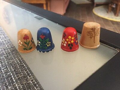 4 Wooden Painted Vintage Collectible Thimbles