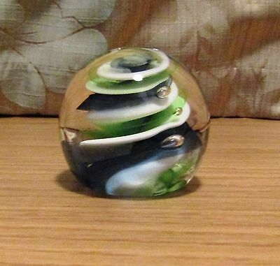 Caithness Glass Dizzy Paperweight. Marked J42256. Green, Blue, Clear & White